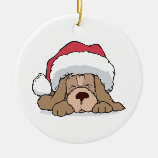 cute puppy in santa hat Double-Sided ceramic round christmas ornament