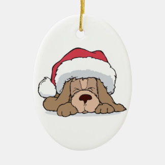 cute puppy in santa hat Double-Sided oval ceramic christmas ornament