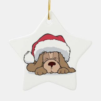 cute puppy in santa hat Double-Sided star ceramic christmas ornament