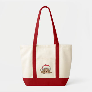 cute puppy in santa hat impulse tote bag