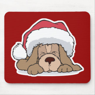 cute puppy in santa hat mouse pad