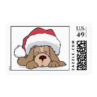 cute puppy in santa hat postage stamps