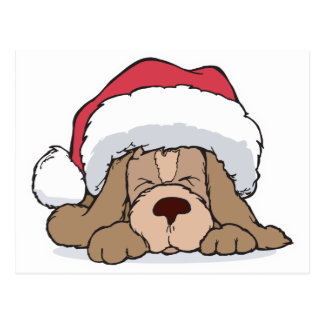 cute puppy in santa hat postcard