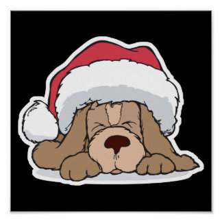 cute puppy in santa hat poster