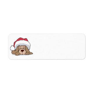 cute puppy in santa hat return address label