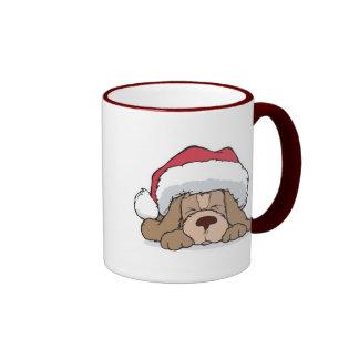 cute puppy in santa hat ringer coffee mug