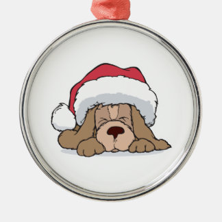 cute puppy in santa hat round metal christmas ornament