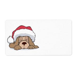 cute puppy in santa hat shipping label