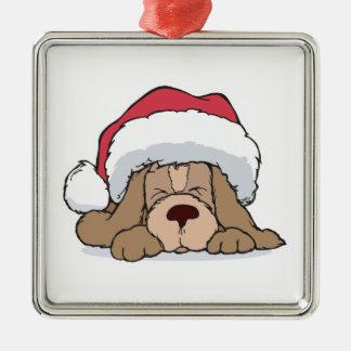 cute puppy in santa hat square metal christmas ornament