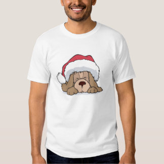 cute puppy in santa hat t-shirt
