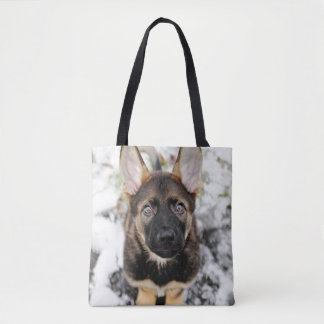 Cute Puppy Looking Up Tote Bag