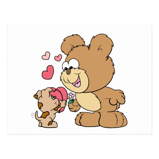 cute puppy love valentine teddy bear design postcard