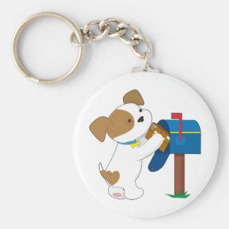 Cute Puppy Mail Basic Round Button Keychain