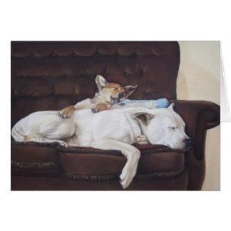 Cute puppy mixed breed dog realist art card