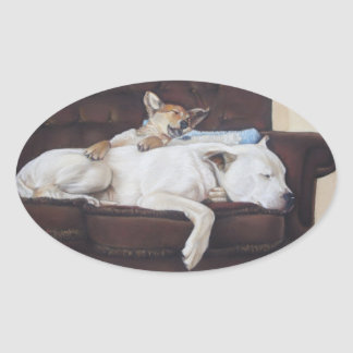 Cute puppy mixed breed dog realist art sticker stickers