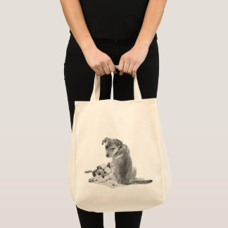 Cute puppy mixed breed with teddy dog portrait art tote bag