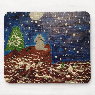 Cute Puppy Moonlit Night Mouse Pad