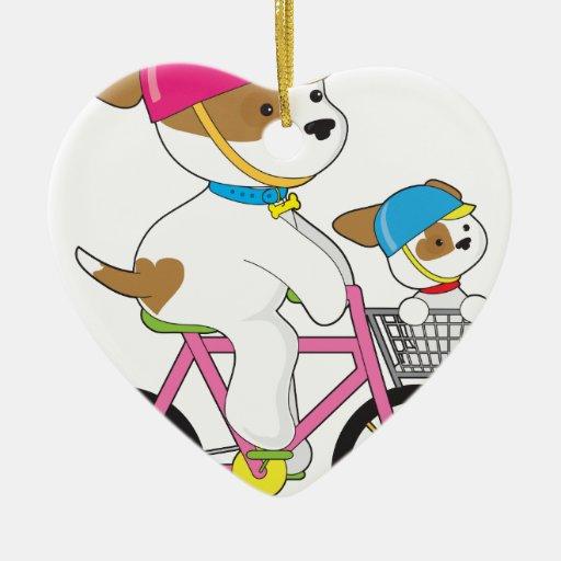 Cute Puppy on Bike Ceramic Ornament