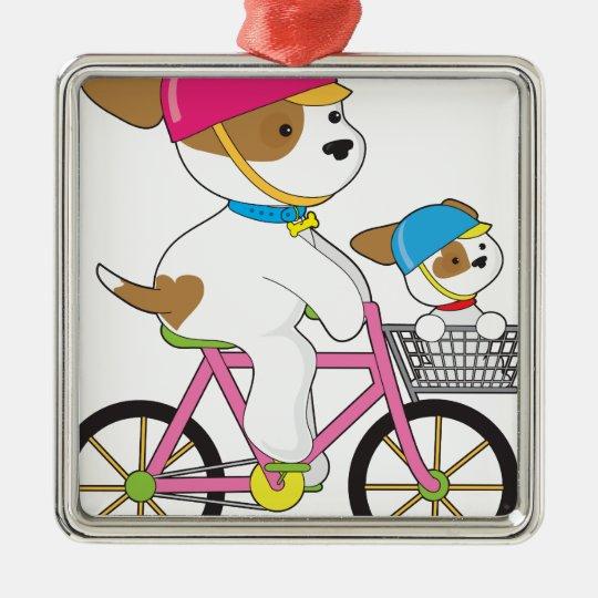 Cute Puppy on Bike Metal Ornament