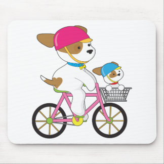 Cute Puppy on Bike Mouse Pad