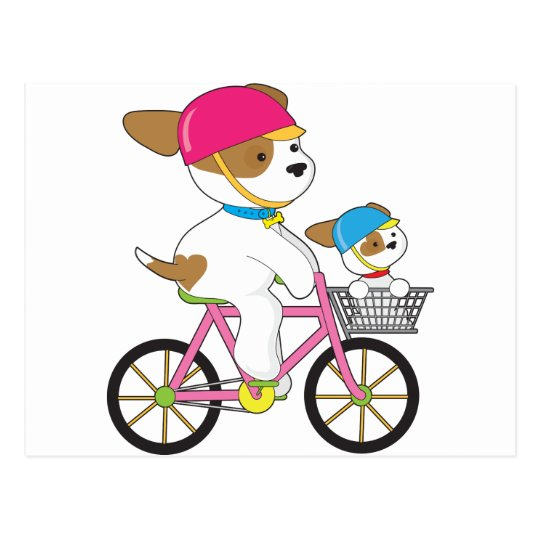 Cute Puppy on Bike Postcard