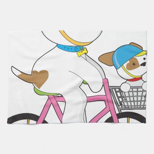 Cute Puppy on Bike Towels