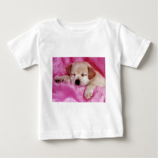 cute puppy on pink fur baby T-Shirt