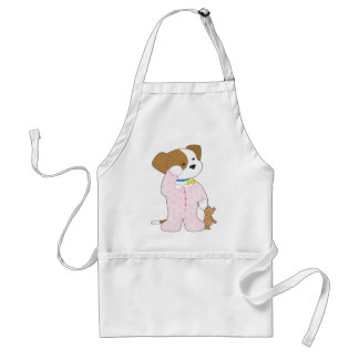Cute Puppy Pajamas Adult Apron