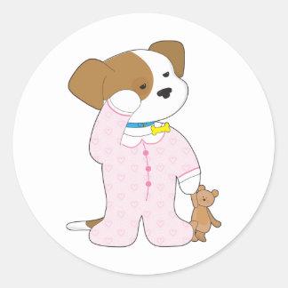 Cute Puppy Pajamas Round Sticker