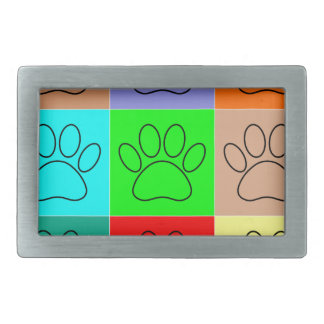 Cute Puppy Paws In Squares Rectangular Belt Buckle