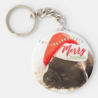 Cute Puppy Pug in a Red Santa Hat Christmas Keychain