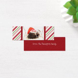 Cute Puppy Pug in a Red Santa Hat Christmas Mini Business Card
