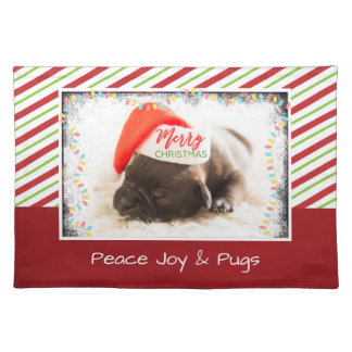 Cute Puppy Pug in a Red Santa Hat Christmas Placemat