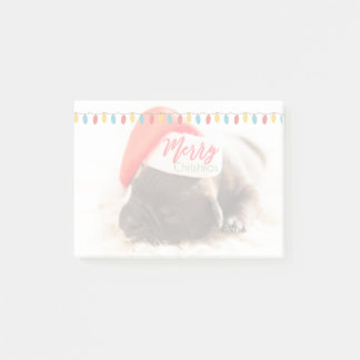 Cute Puppy Pug in a Red Santa Hat Christmas Post-it Notes