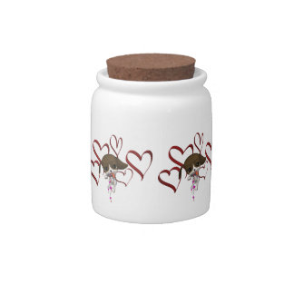 Cute Puppy Red Hearts Candy Jars