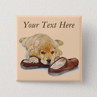 cute puppy retriever cuddling slippers portrait button
