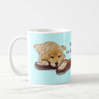 cute puppy retriever missing you dog art coffee mug