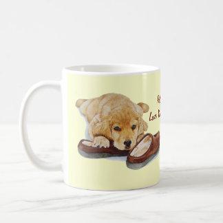 cute puppy retriever missing you dog art mugs