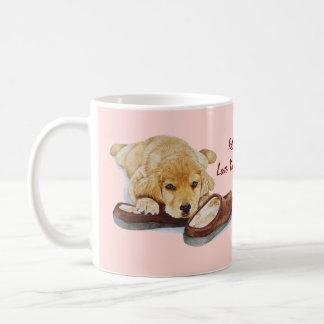 cute puppy retriever missing you dog art coffee mugs