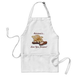 Cute puppy retriever with teddy bears realist art adult apron