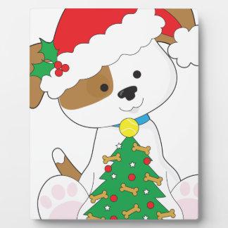 Cute Puppy Santa Plaque