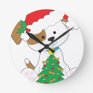 Cute Puppy Santa Round Clock