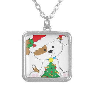 Cute Puppy Santa Silver Plated Necklace