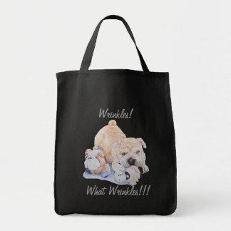 Cute puppy shar pei portrait with teddy fun slogan tote bag