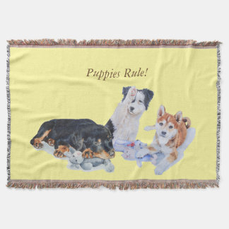 cute puppy sheba inu rotty collie and teddies throw blanket