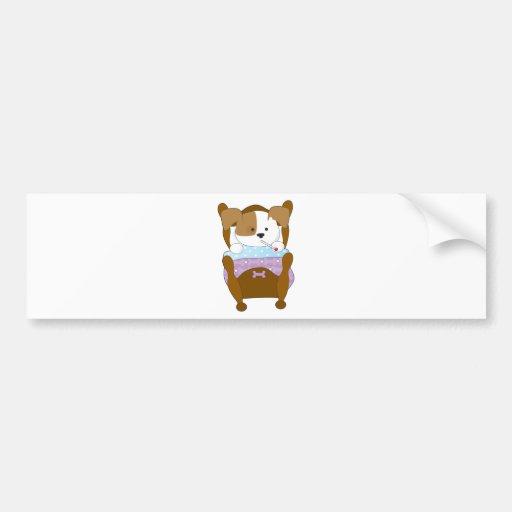Cute Puppy Sick Car Bumper Sticker