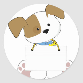 Cute Puppy Sign Classic Round Sticker