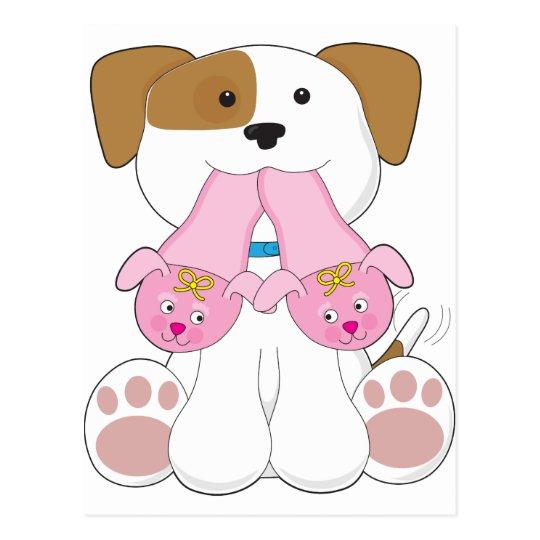 Cute Puppy Slippers Postcard
