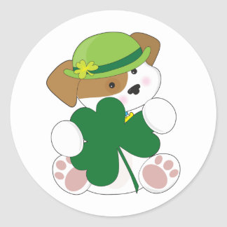 Cute Puppy St Pats Classic Round Sticker
