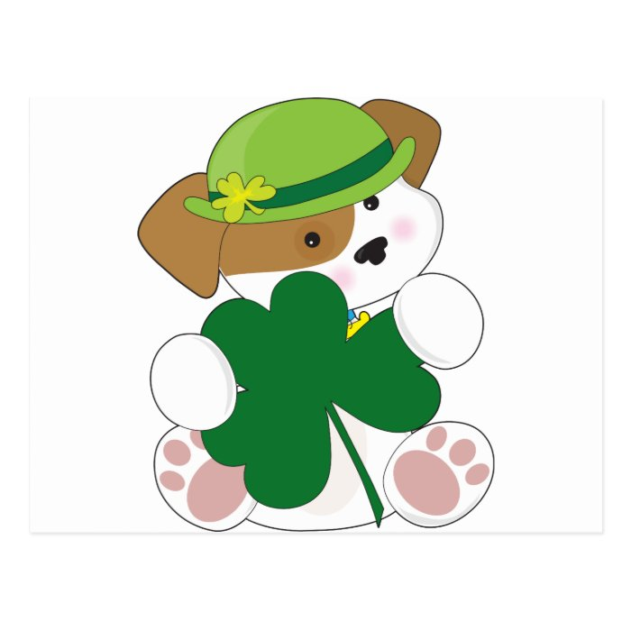 Cute Puppy St Pats Postcard